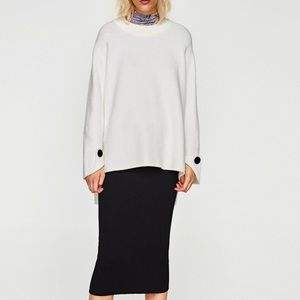 Zara Knit Off White Sweater | Size M